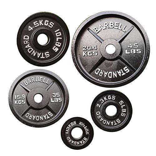 Un par de discos olímpicos de 5 cm, pesas de hierro sólido para ejercicios musculares, ideales para fitness en interiores - 2.5 libras, 5 libras, 4.5 kg, 11.3 kg, 15.8 kg, 20.4 kg