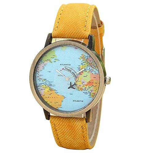 montres pour femmes, Winkey Global de voyage en avion carte Women Dress montre Denim Bande de tissu jaune