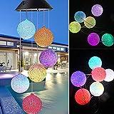 Solar LED Mobile Windspiel Farbwechsel Solarleuchten Solarbetriebene Mobile Windspiele Licht für Gartendeko (Windbell)