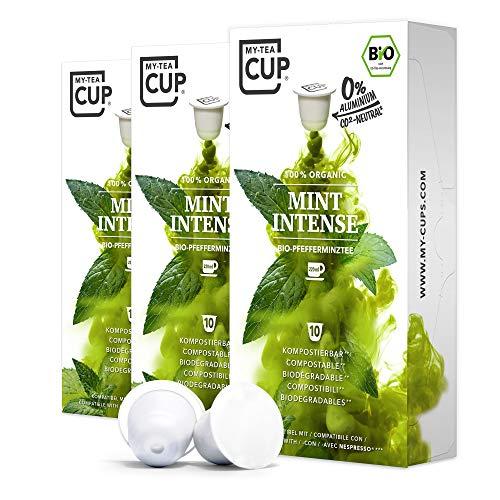 My Tea Cup - TEEKAPSELN MINT INTENSE 3 x 10 KAPSELN I BIO-PFEFFERMINZTEE I 30 Kapseln für Nespresso®³-Kapselmaschinen I 100% industriell kompostierbare & nachhaltige Teekapseln – 0% Aluminium