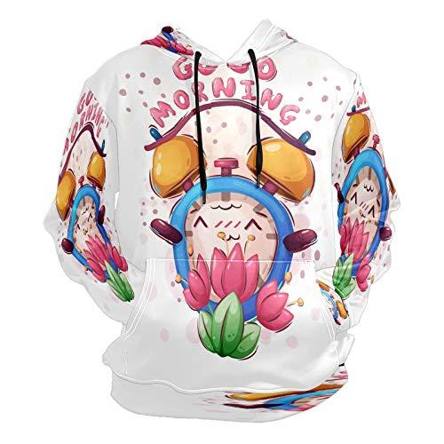 Moda impresión 3D lindo patrón reloj despertador unisex suéter fresco sudaderas con bolsillo canguro para hombres y mujeres