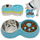 Hifrenchies Dog Slow Eating & Drinking Bowl,Stainless Steel Interactive Slow Feed Dog Bowl for French Bulldog,Slow Down Eating Eco-Friendly pet Bowl for Frenchie (Blue)