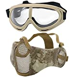IndependentThose Airsoft Mask and Goggles, AdjustableSteel Mesh Mask Outdoor Glasses Goggles for with Outdoor Airsoft BK, BB Gun, Hunting, CS Paintball