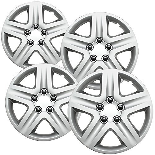 16 inch Hubcaps Best for 2006-2013 Chevrolet Impala - (Set of 4) Wheel Covers 16in Hub Caps Silver Rim Cover - Car Accessories for 16 inch Wheels - Snap On Hubcap, Auto Tire Replacement Exterior Cap