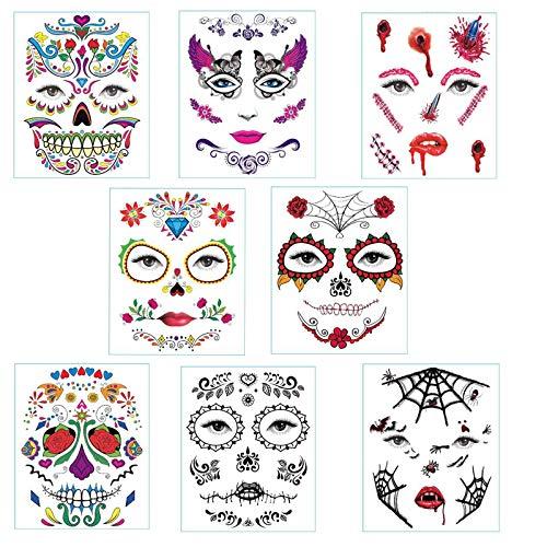 8 Hojas Halloween Tatuajes Temporales, Tatuajes para la Cara Halloween, Tatuajes Temporales adhesivos tatuajes de pegatina Facial para Halloween Maquillaje Disfraz Artculo Decoracin