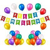 Unishop Guirnalda de Banderines de Feliz Cumpleaños con Globos Multicolor, Decoración de Fiesta de Cumpleaños de Colores