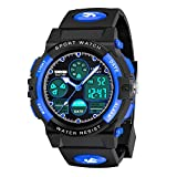 SOKY Watches for Kids 6-15 Year Old Boys Waterproof Watches for Kids 8-12 Sports Analog Digital Watches Cool Outdoor Toys for Kids 6-12 Birthday Xmas Gift Stocking Stuffers for Teenagers Boys Blue