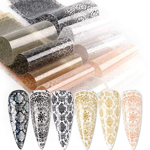 Fascigirl 10 Hojas De Encaje Nail Art Foil Fashion Lace Print Nail Foil Lámina De Uñas Pegatinas De Transferencia De Encaje