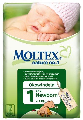 Moltex Nature No1 Eco Nappy Newborn Size 1 (2-4 kg/4-9 lb)-Pack of 28 Nappies