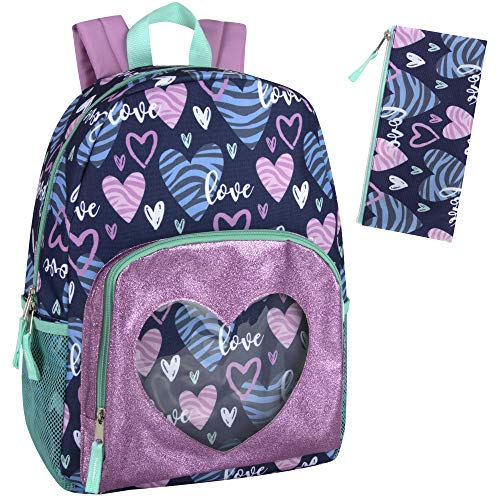 Backpack with Pencil Case for Kids – 17 Inch School Backpack Set for Girls and Boys (Hearts)