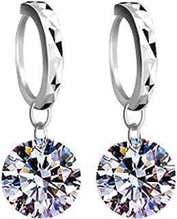 YAZILIND Women Clip On Cubic Zirconia Silver Sparkling Stud Drop Dangle Earrings Statement Elegant Party Dainty Vintage Jewelry