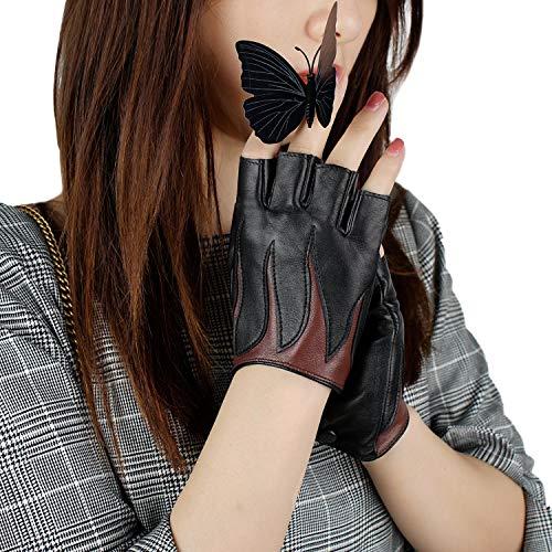 GSG Womens Fingerless Driving Gloves Motorcycle Black Half Finger Leather Gloves Show Fire Pattern 7.5