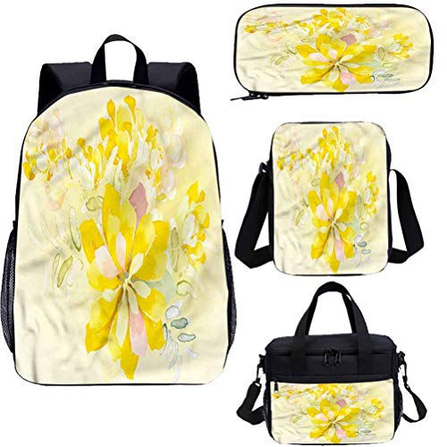 Country 17' Backpack With Lunch Bag Pencil Case Set,Romantic Yellow Flowers 4 in 1 Backpack Sets