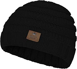 Zando Winter Baby Beanie Hat Cute Soft Warm Knitted Beanies Infant Toddler Cozy Cap for Boys Girls H 1 Pack Solid Black One Size(6-48 months)
