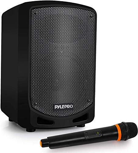 Pyle Bluetooth Karaoke PA Speaker - Indoor / Outdoor Portable Sound System with Wireless Mic, Audio Recording, Rechargeable Battery, USB / SD Reader, Stand Mount - for Party, Control - PSBT65A Black