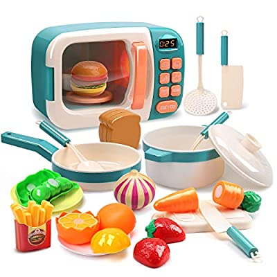 CUTE STONE Microwave Toys Kitchen Play Set,Kids Pretend Play Electronic Oven with Play Food,Cookware Pot and Pan Toy Set, Cooking Utensils,Great Learning Gifts for Baby Toddlers Girls Boys from Cute Stone
