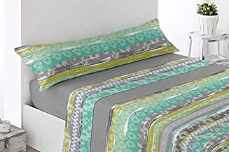 Energy Colors Textil - hogar - Seattle - Juego Sábanas Estampada Verano Microfibra 3 Piezas (Verde Viles, 135_x_200_cm)
