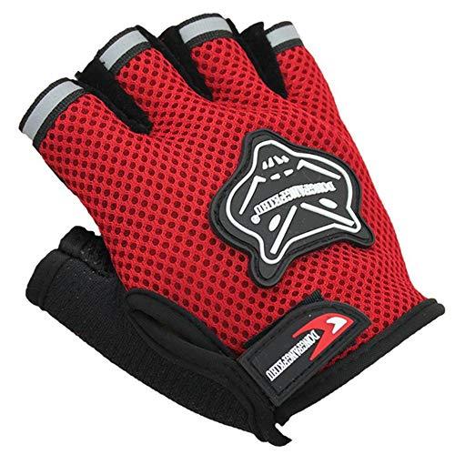 YQ&TL Gloves Bike Cycling Gloves for Men Adult Half Finger Riding Gloves Non-Slip Breathable Mesh Fox Pattern Motorcycle Bike Fingerless Short Sports Gloves D