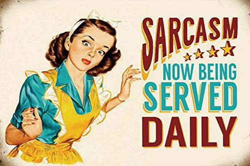 Sarcasm Vintage Wall Decor w Funny Quote Unique Metal Wall Decor for Home Bar Diner or Pub 12x8 in Metal Tin Signs Fun Kitchen Decor Funny Bar Signs Vintage Kitchen Signs