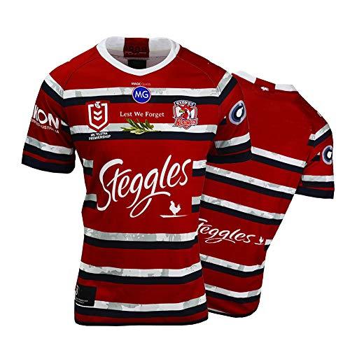 Herren Rugby Trikot, 2020/2021 Sydney Rooster Rugby Training T-Shirt, Unterstützer Fußball T-Shirt Sport Top, Bestes Geburtstagsgeschenk-XXXL