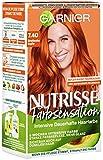 Garnier Haarfarbe, dauerhafte und intensive Coloration, mit nährenden Fruchtölen, für intensive Reflexe, Nutrisse Farbsensation, 7.40 Strahlendes Kupfer, 3er Pack(3 x 224 g)