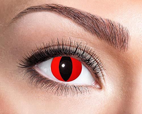 Generique - Höllische Katzenaugen-Kontaktlinsen für Erwachsene rot-schwarz 14,5 mm