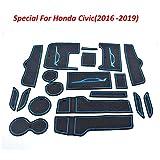 FUN-DRIVING Accesorios para Honda Civic 2016 2017 2018 2019, revestimientos de protección para puerta de portavasos Honda Civic 2016-2019, consola, juego de 19 piezas, borde rojo, Franja azul