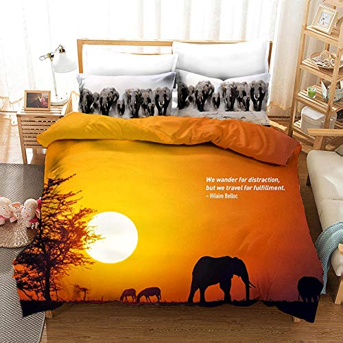 aakkjjzz Duvet Cover King Size Ultra Soft Bed Set with Zipper Closure 100% Polyester Quilt Cover and 2 Pieces Pillowcases Machine Washable Sunset with Elephant for Bedroom Daybed 230X220cm