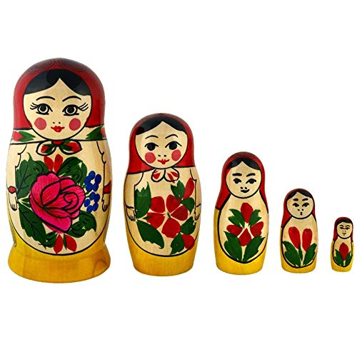 Semenovskaya Rospis original russische Matroschka Puppen Babuschka Matrjoschka Holzpuppen klassisch (5 Puppen 11 cm rotes Tuch)