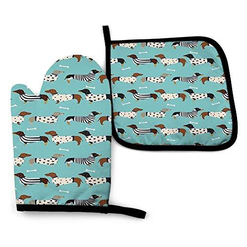 COMMER Perro perro salchicha con suéteres Doxie diseño de perro azul tinte 1 guante resistente al calor + 1 soporte individual para horno, guantes para horno microondas