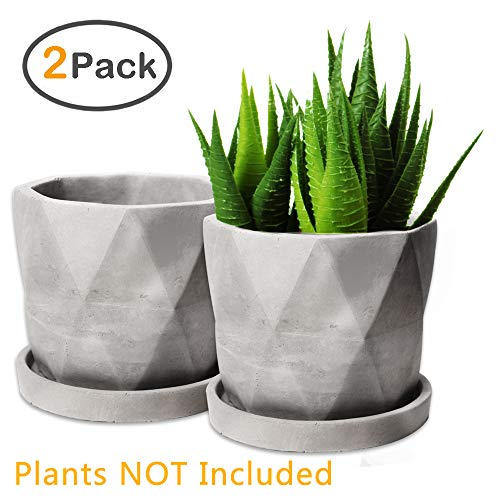 ZOUTOG Succulent Pots, Grey 4.42 inch Concrete Flower Planter Pot Set with Cement Tray, Pack of 2 (Plants NOT Included)