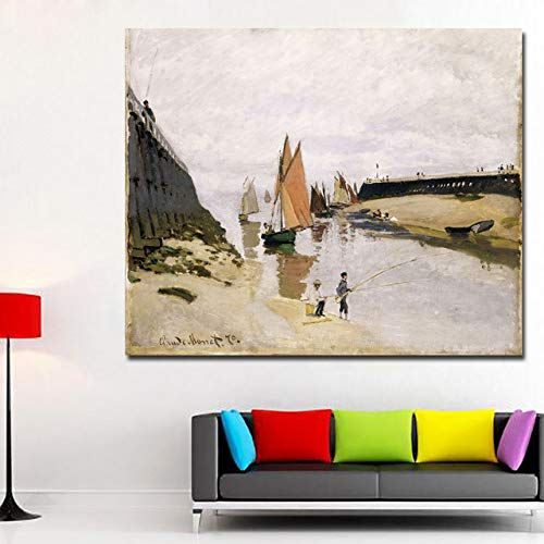 SADHAF Monet Impressionisme zeesegels landschap schilderij canvasdruk elegante wanddecoratie kunst wanddecoratie 30x40cm (kein Rahmen) A1.