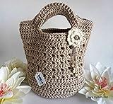 MYMEHI Bolso tote de mano estilo nórdico para mujer, bolso de verano color café tejido en algodón, bolso pequeño de crochet hecho a mano