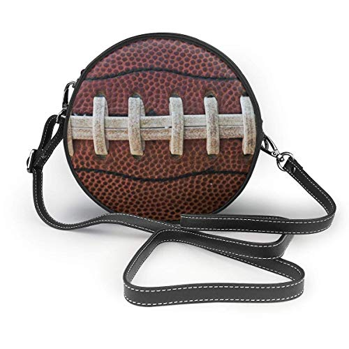 fhjhfgjghfjghfj American Football Laces Print Round Crossbody Bag Umhängetasches Women Shoulder Bag PU Leather Chain Strap and Top Zipper Small Handbag Round Purse Handle Tote