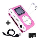 Mini Reproductor MP3 con Pantalla LCD y Enganche de Clip + Tarjeta de 4Gb + Cable de Carga + Auricular Blanco, Music Player Rosa, Electrónica Rey