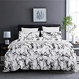 "YERVEN White Marble Duvet Cover Set Microfiber Lightweight Full/Queen Comforter Cover Set 90""X90"" Hotel 3PCS Bedding Set with 1 Duvet Cover and 2 Pillowcases"