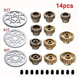 Faironly 14 Piezas Metal 48P Spur Gear 92T 85T 80T 18T Brush/Brushless Motor Pinion Gears para...