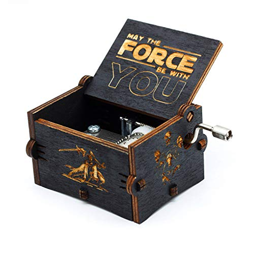 Boîte à musique en bois noire de Star Wars, décorations antiques sculptées à la main en bois de boîtes à musique en bois artisanat pour des cadeaux d'enfants