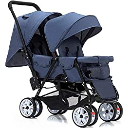 DAGCOT Baby Stroller Bassinet Pram Carriage Stroller Tandem Double Stroller for Infants, Toddlers or – 360° Turning, Footrest, 5 Points Safety Belts, Foldable Design for Easy Transportation