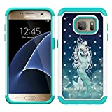 MagicSky S7 Case, Galaxy S7 Case, [Shock Absorption] Studded Rhinestone Bling Hybrid Dual Layer Armor Defender Protective Case Cover for Samsung Galaxy S7 (Mermaid)
