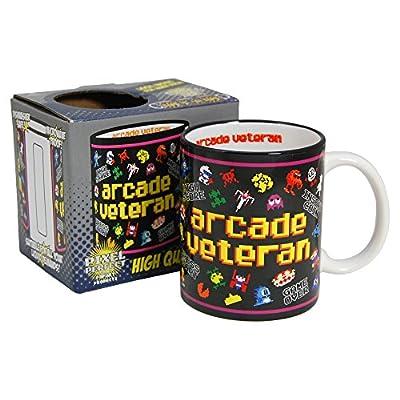 Arcade Veteran Retro Gamer Mug. Ideal for 8-bit gamers who played the 80s classics.