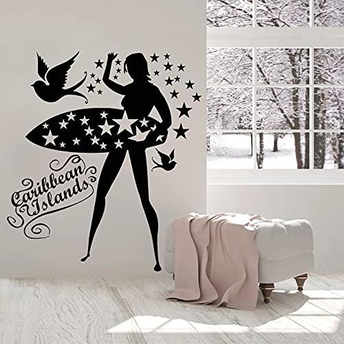 KDSMFA, calcomanía de tabla de surf, póster de isla, dormitorio para niñas, decoración de sala de estar, pájaros, surf, pegatina de pared para chica, surfista, decoración del hogar,57x65cm