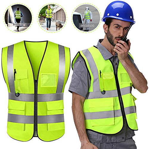 Reflective Vest Safety Vest Green High Visibility Vest for Men Women Construction Work Vest with Pockets Zipper and 4 Bright High Reflective Strips Meets Class 2 ANSI Standards (45.7''x 25.5'')