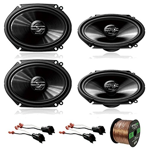 "4 x Pioneer TS-G6820S 250W 6x8"" 2-Way Car Audio Speakers, 2 x Metra 72-5600 Speaker Adapter for Select Ford Vehicles (2 pairs), Enrock Audio 16-Gauge 50 Foot Speaker Wire"