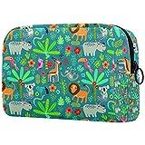 Bolsa de cosméticos de viaje grande para mujer, neceser de viaje y maquillaje cosmético con muchos bolsillos patrón sin costuras animales de la selva 8 x 3 x 3.5 pulgadas