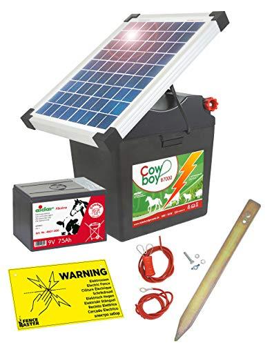 Eider Solar Weidezaungerät B 7000 mit 10 Watt Solarpanel & 9 Volt Alkaline Batterie 75 Ah - erheblich längere Batterielaufzeit durch effizientes Solarmodul - erste Wahl für Pferde- & Ponyzaun