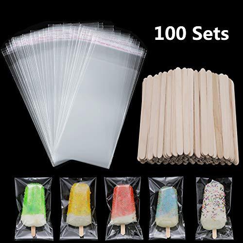 100 Stücke EIS am Stiel Beutel EIS Beutel Klare EIS Tasche Plastik Tüten und 100 Stück Holz EIS am Stiel Sticks EIS Pop Sticks für DIY Herstellung von Eiscreme Lieferung(4.49 Zoll, 8.27 x 3.15 Zoll)