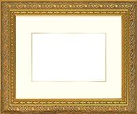 写真用額縁 420型/ゴールド Lサイズ(127×89mm) ガラス マット付(金色細縁付き) マット色:クリーム