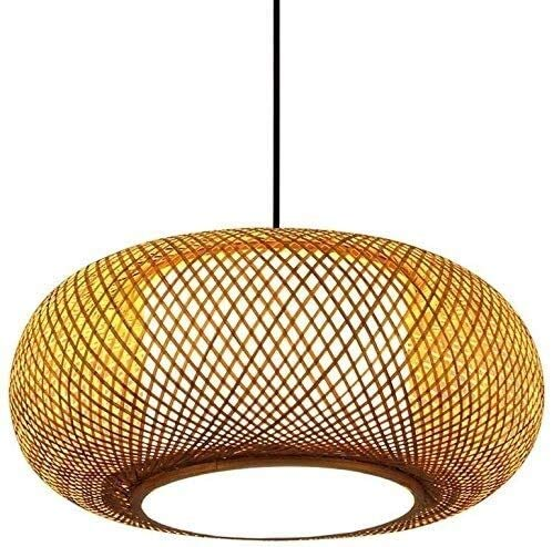 AXWT Chandelier Manual Weave Bamboo Lampshade Pendant Lights Rural Natural Style Ceiling Lamp Creativity E27 Rattan Hanging Lights Hanging For Bedroom, Dining Room, Kitchen [Energy Class A +]