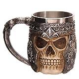 AOLVO Mug Tête de Mort en Acier Inoxydable, Viking Priate médiéval Squelette 3D Résine Tête de Mort Ballon (Verre) pour l'eau Bière Café Boire Chope Stein avec poignée 450ML (453,6Gram)